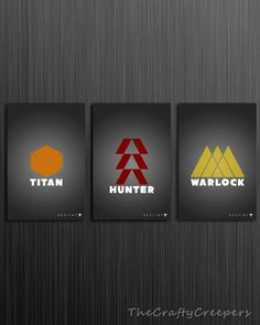 INSTANT DOWNLOAD Destiny Game Posters - Set of 3 - Classes - Titan, Hunter, and Warlock - Digital Prints - Grey/Gray - Gaming - PS4/XBOX