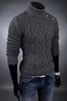 men outfits - Men's Hand Knit Sweater Handgestrickte Pullover, Hand Knitted Sweaters, Knitting Designs, Knitting Patterns, Men Sweater, Mens Knit Sweater Pattern, Jumper, Hand Knitting, Boy Outfits