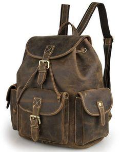 Vintage Multi-Pocket Leather Rucksack Knapsack