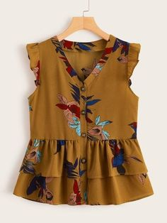 Schiffy Trim Puff Sleeve Floral Print Blouse – M.Mariano Schiffy Trim Puff Sleeve Floral Print Blouse V-neck Button Front Layer Ruffle Peplum Blouse Frock Fashion, Trend Fashion, Fashion Dresses, Plus Size Blouses, Plus Size Tops, Cute Blouses, Indian Blouse Designs, Fall Outfits, Kids Outfits