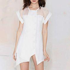 Women White Asymmetric Ruched Chiffon Mini Dress Mesh Patchwork Party Clubwear    eBay