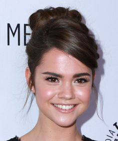 Maia Mitchell Wedding Hairstyle - Long Wavy Formal - Medium Brunette these lavish locks are pulled up and pinned to the crown to create this stunning updo best suited for any occasion the top is parted on the left side and smoothed across the face for a beautiful finish