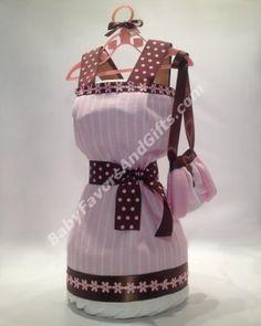 Dress Diaper Cake - Baby Girl Diaper Cakes - by BabyFavorsAndGifts.com -