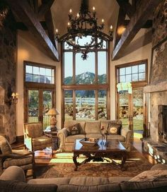 Comfortable Family Room Design Comfortable Family Room Design Ideas We Want To . Comfortable Family Room Design Comfortable Family Room Design Ideas We Want To Relax In All Day Lo Cabin Homes, Log Homes, Casas Country, Tuscan Design, Mediterranean Home Decor, Family Room Design, Home Living Room, My Dream Home, Great Rooms