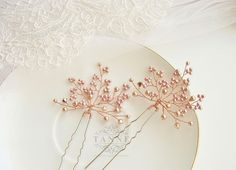 Rose Gold Hair Pins Rose Gold Wedding Hair Pins by TanneDesign
