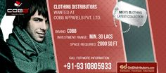 #Cobb #clothing, one of the renowned company is looking for men's wear #distributors. Browse more about this opportunity: http://www.getdistributors.com/distributors/cobb-apparels-pvt-ltd-26167/