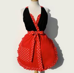 Vintage Inspired Full Apron Red and Polka Dots