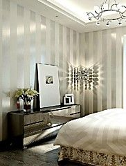 Contemporary+Wallpaper+Stripe+Wall+Covering+Non-woven+Paper+Wall+Art+–+GBP+£+31.98