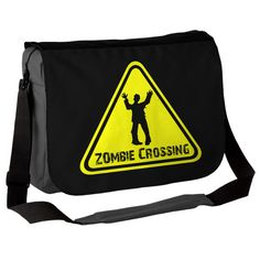 "Cool zombiieeeee bag!  ""This fab custom Zombie Crossing messenger bag is a great bag for zombie/horror/kooky and spooky lovers. """