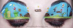 Super Mario Eyes by =KatieAlves  Traditional Art / Body Art / Cosmetic Application / Make-Up / Beauty©2012 =KatieAlves