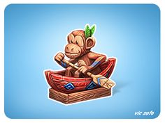 Dribbble - Wooden Monkey by Victor Soto