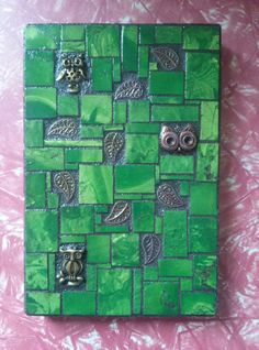Green mosaic with Owls and Leaves. by velvetbearmosaics on Etsy