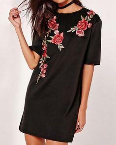 Flower embroidered t shirt dress for women black long t shirts