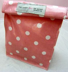 oilcloth Lunch Bag - Spots - White On Pink. #bag #polkadots