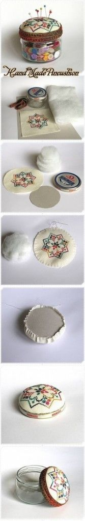 Found at craftyideas.com  Could use any fabric or other cross stitch design.