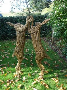 Willow Woven Willow Animal and Figurative or Statues & Art #sculpture by #sculptor Emma Walker titled: 'boxing hares' #art