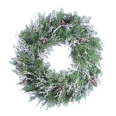 """24"""" Frosted Cedar with Pine Cones Artificial Christmas Twig Wreath - Unlit"""