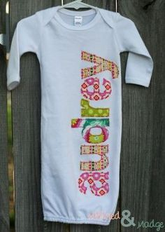 Hand Appliqued Personalized Infant Baby Girl by MildredandMadge, $35.00 by ramona