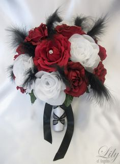 Red White and Black Wedding grooms men  | Details about 17pcs Wedding Bouquet Flowers BLACK Feathers APPLE RED