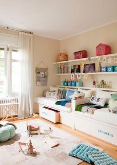 more shared room inspiration Girl Room, Girls Bedroom, Bedroom Ideas, Master Bedroom, Room For Two Kids, Kids Rooms, Kids Bunk Beds, Twin Beds, Trundle Beds