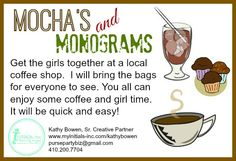 Want to keep your Thirty-One party quick and easy? Why not have a Mocha's and Monograms party. Just get the girls together at your local coffee shop. I will bring the bags for everyone to see. Simple, and you don't have to clean your house! www.facebook.com/shelszoogifts