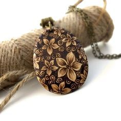 Gorgeous Blossom Pyrography Pendant Necklace, Wood Teardrop, Flower Lover