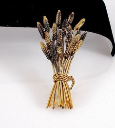 Signed WELLS 1/20 12K Gold Filled Wheat Pin Brooch 15.6 grams   eBay