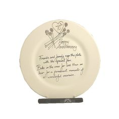 Personalised 70th Platinum Wedding Anniversary Gift Signature Plate Round Free Postage In The Uk