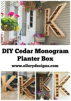 DIY Monogram Cedar Planter Box