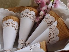 great way to fancy up ice cream cones with a doily