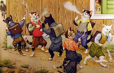 CARTE POSTALE ILLUSTRATEUR MOLLY BRETT FANTAISIE CHAT CAT COWBOYS AND INDIANS