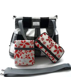 Diaper Bag Gift Set - Black Plaid Diaper Bag - Travel Pad - Wipes Case - Messenger Strap