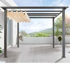 Retractable canvas pergola cover. Love this for shade over decks or near the pool. #PinMyDreamBackyard by krista