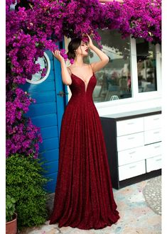 Tarik Ediz - 93690 Illusion Plunging Backless Sparkly Ballgown in 2020 Pretty Prom Dresses, Grad Dresses, Ball Dresses, Elegant Dresses, Cute Dresses, Beautiful Dresses, Ball Gowns, Formal Dresses, The Dress