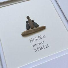 Pebble Art, Family Art, stone art, Pebble Art Picture, Cottage decor, Farmhouse… #giftsformom
