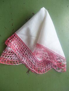 Vintage Handkerchief With Variegated Pink by PamelaMurphyVintage, $8.00