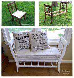 Leuk idee!... twee oude stoelen omgetoverd tot een halbankje. Alle info te vinden op haar site (zie fotootjes)