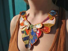 Butterfly Wing Textile Necklace 01