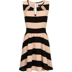 **Girls on Film Peach and Black Stripe Skater Dress featuring polyvore fashion clothing dresses black black day dress stripe skater dress black stripe dress skater dress striped skater dress
