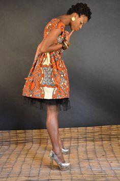 Earth tones vneck African print Baby doll dress by Gitasportal2011, £65.00