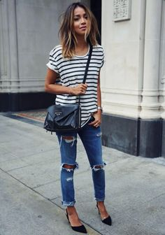 M. GEMI the Domani pumps ANINE BING striped tee CURRENT/ELLIOT ripped jeans BALENCIAGA papier envelope crossbody