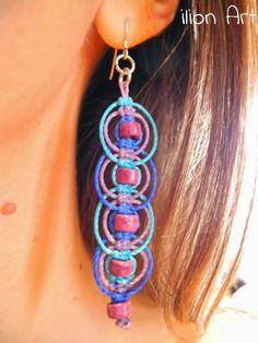 earrings made with hemp - Bing images Paper Bead Jewelry, Hemp Jewelry, Bronze Jewelry, Jewelry Making Beads, Macrame Earrings, Macrame Jewelry, Macrame Bracelets, Diy Crafts Jewelry, Handmade Jewelry