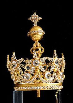 19th Century Gilt Brass Crown with Clear Facet Cut Glass Jewels