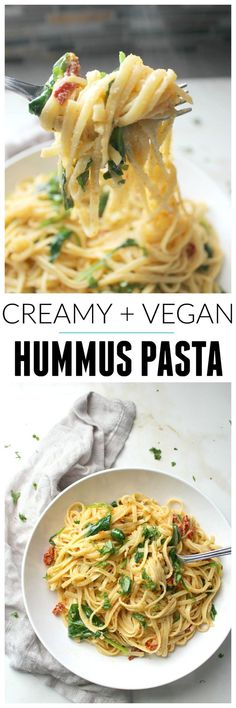 This One Pot Creamy Hummus Pasta takes 20 minutes (and yes, it's vegan) | ThisSavoryVegan.com