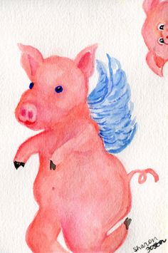 Flying Pigs Painting Original, Peaking Pig Face Watercolor, pigs with wings, when pigs fly, whimsical flying pig art by SharonFosterArt on Etsy
