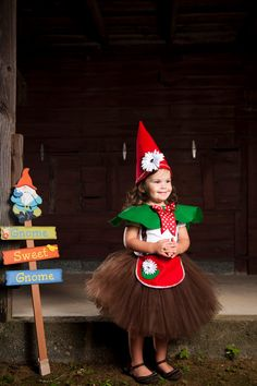 Gnome Sweet Garden Gnome Tutu Costume Halloween Pretend Play READY TO SHIP in 3T. $60.00, via Etsy.