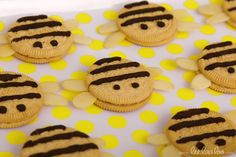 Adorable bee cookies at a Bumble Bee Birthday Party! See more party ideas at CatchMyParty.com!  #partyideas #bee