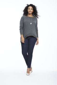 Raglan Sweater In Charcoal by  Lima Available in sizes 0X-5X