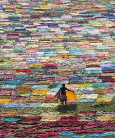 Colorful cloth drying, India
