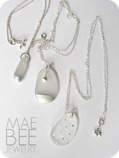 Silver painted SeaGlass necklaces from JewerlyByMaeBee on #Etsy. #sfetsy www.jewelrybymaebee.etsy.com